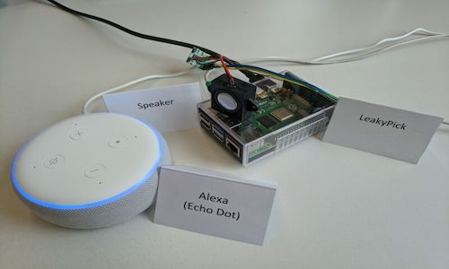 LeakyPick, a device that monitors a network that has an Amazon Echo connected.